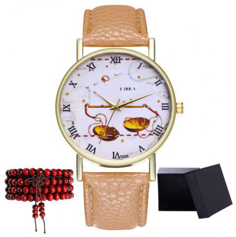 Kingo T326-1 Cute Pattern Neutral Quartz Watch - BEIGE