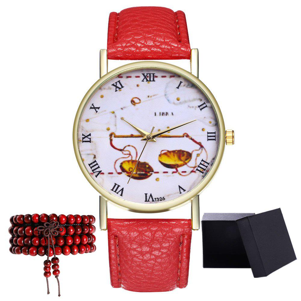 Kingo T326-1 Cute Pattern Neutral Quartz Watch - RED