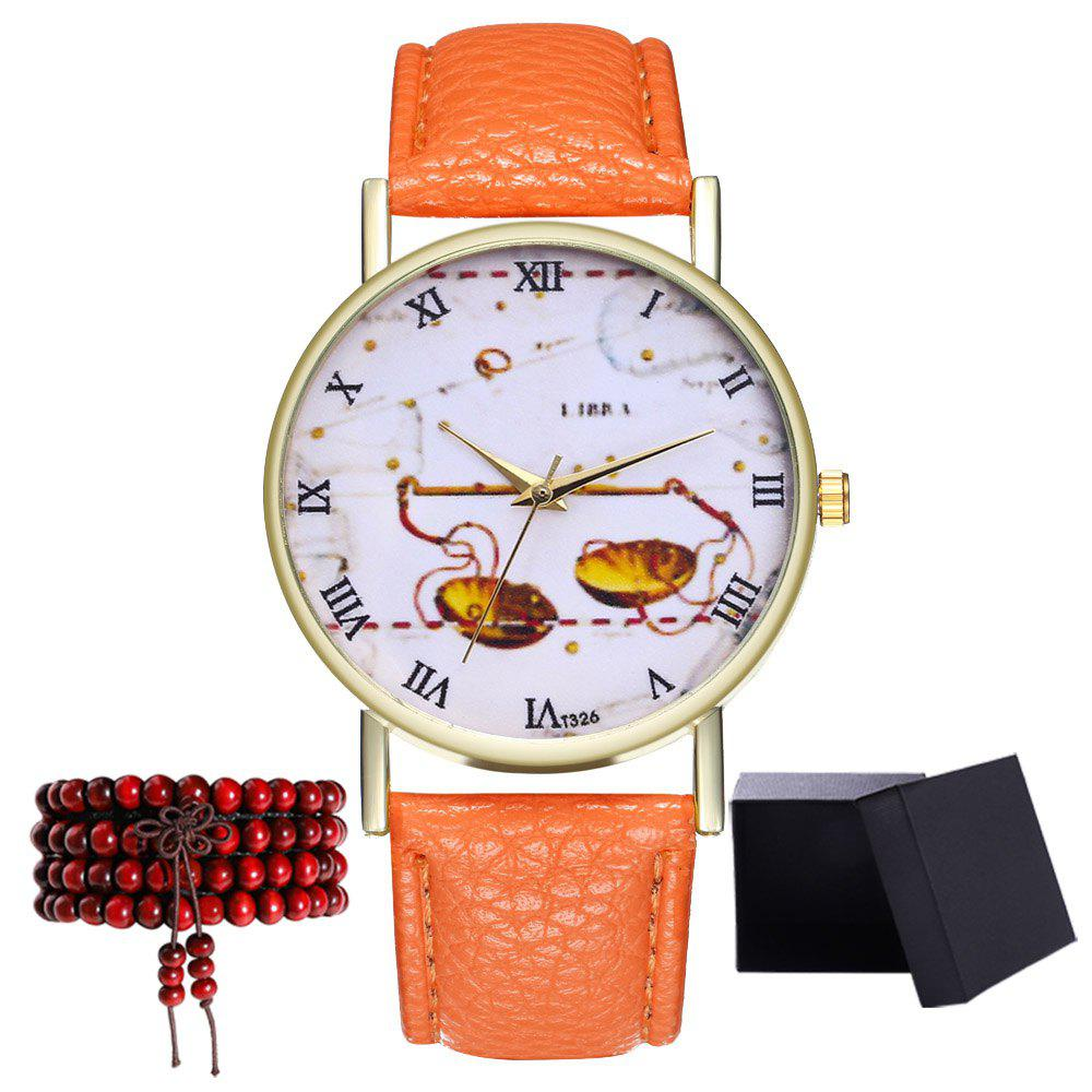 Kingo T326-1 Cute Pattern Neutral Quartz Watch - ORANGE