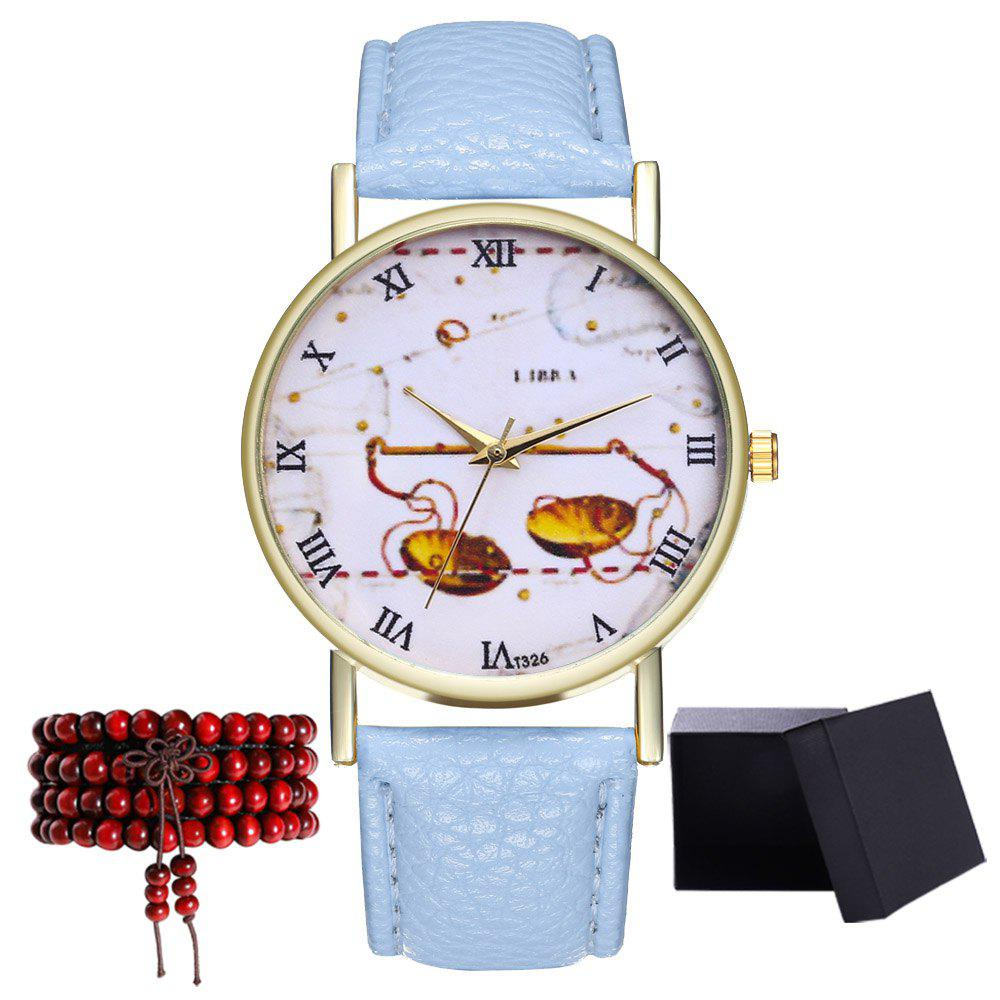 Kingo T326-1 Cute Pattern Neutral Quartz Watch - LIGHT BLUE