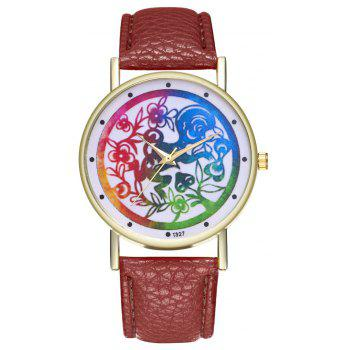 Kingo T327-1 Simple Painting Pattern Neutral Quartz Watch - COFFEE