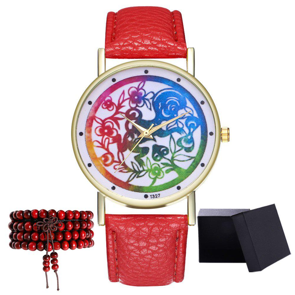 Kingo T327-1 Simple Painting Pattern Neutral Quartz Watch - RED