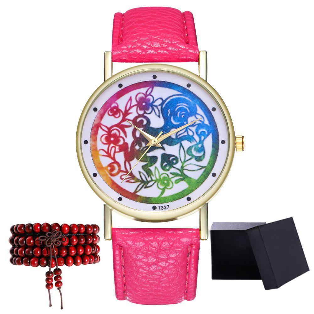 Kingo T327-1 Simple Painting Pattern Neutral Quartz Watch - DEEP PINK