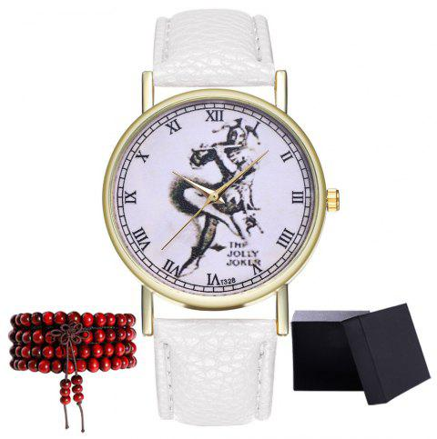 Kingo T328-1 Creative Painting Pattern Neutral Quartz Watch - WHITE