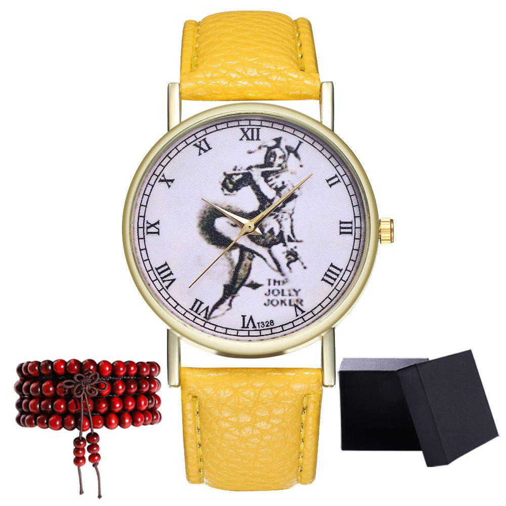 Kingo T328-1 Creative Painting Pattern Neutral Quartz Watch - YELLOW
