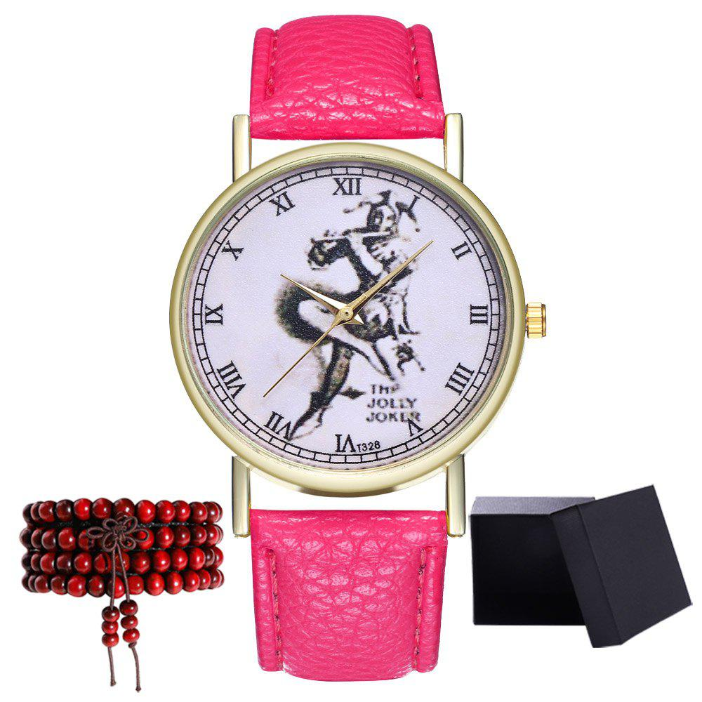 Kingo T328-1 Creative Painting Pattern Neutral Quartz Watch - DEEP PINK