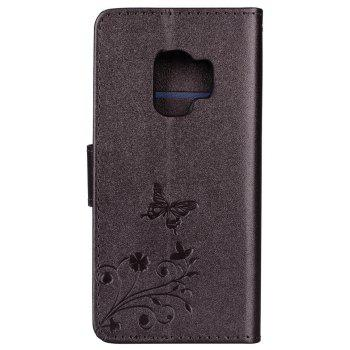 Cover Case for Samsung Galaxy S9 Mirror Shell Butterfly and Flower Pattern - DEEP BROWN