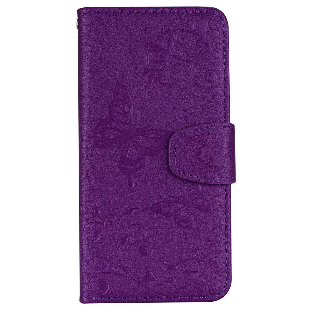 Cover Case for Samsung Galaxy S9 Mirror Shell Butterfly and Flower Pattern - PURPLE AMETHYST