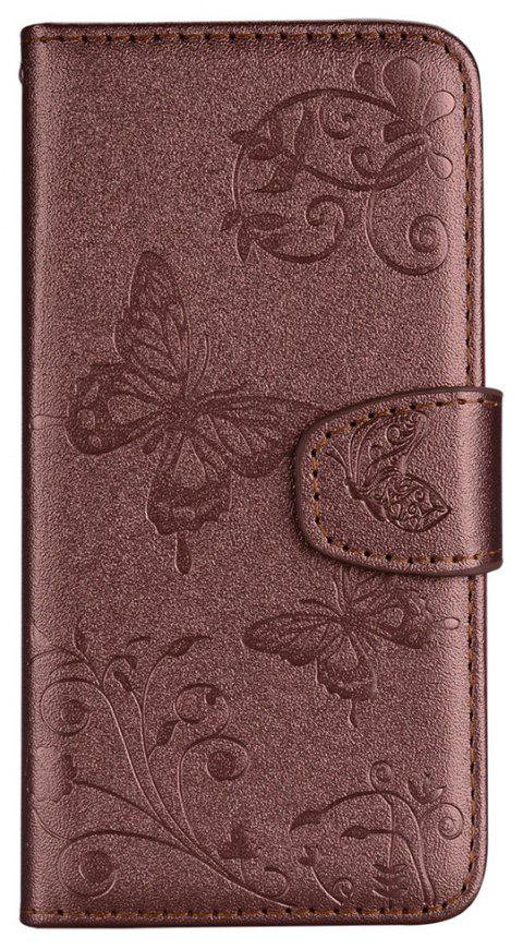Cover Case for Samsung Galaxy S9 Plus Mirror Shell Butterfly and Flower Pattern - BROWN