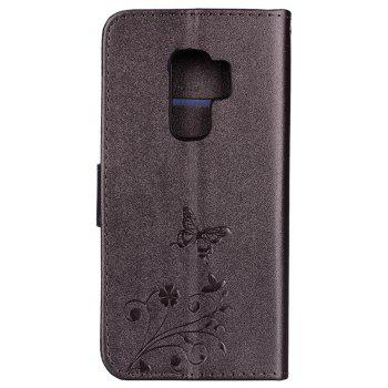 Cover Case for Samsung Galaxy S9 Plus Mirror Shell Butterfly and Flower Pattern - DEEP BROWN