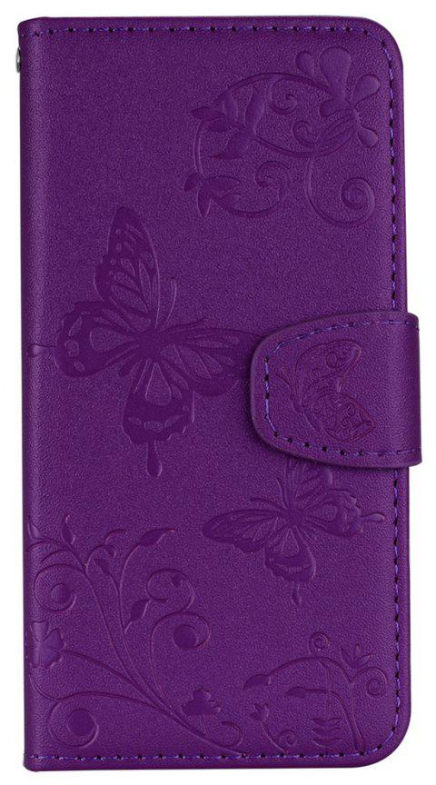 Cover Case for iTouch 5 / 6 Mirror Shell Butterfly and Flower Pattern - PURPLE AMETHYST