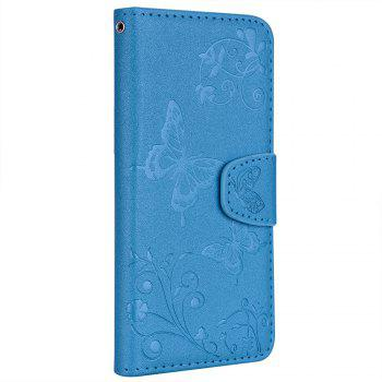 Cover Case for iTouch 5 / 6 Mirror Shell Butterfly and Flower Pattern - DEEP SKY BLUE