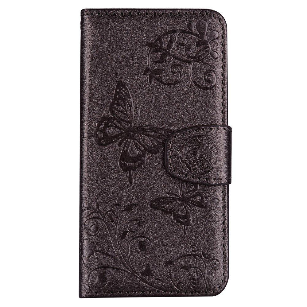 Cover Case for iTouch 5 / 6 Mirror Shell Butterfly and Flower Pattern - DEEP BROWN