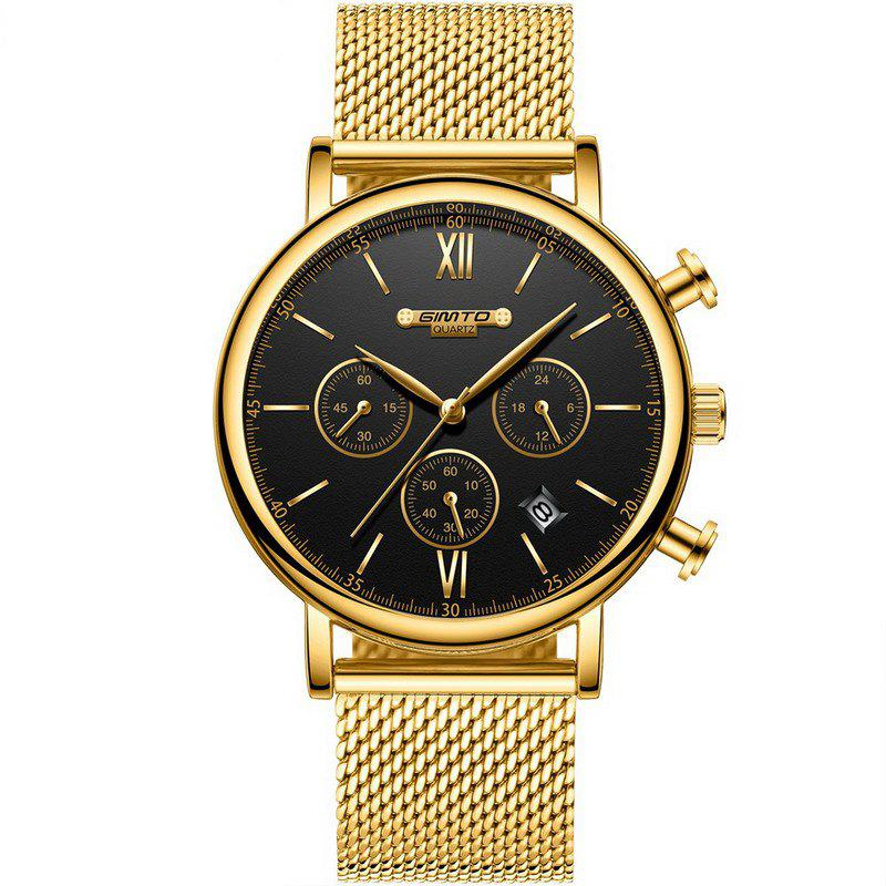 GIMTO GM246 Brand Men Watch Steel Luxury Gold Sport Clock Quartz Chronograph new men stainless steel gold watch luxury brand auto date mens quartz clock roman scale sports wrist watches relogio masculino