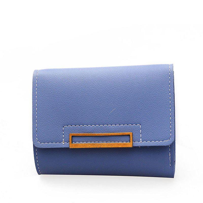 Small Wallet Female Short Soft Card Package Seventy Percent Off Students - BLUE