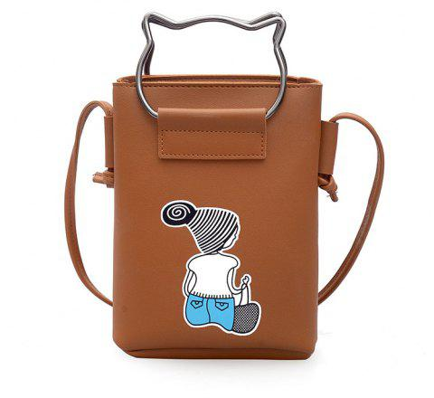 Small Female Fashion Handbag Crossbody Female Mobile Phone Bag - BROWN