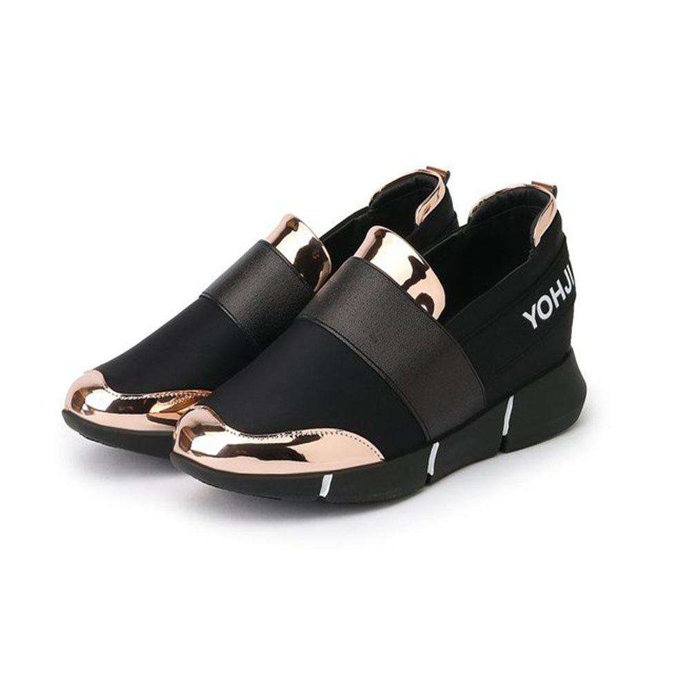PU Panel Low Top Slip On Sneakers - GOLD 40