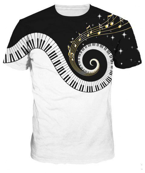 Fashion Design Piano Pattern Digital Printing Short Sleeve T-shirt - multicolor A 3XL