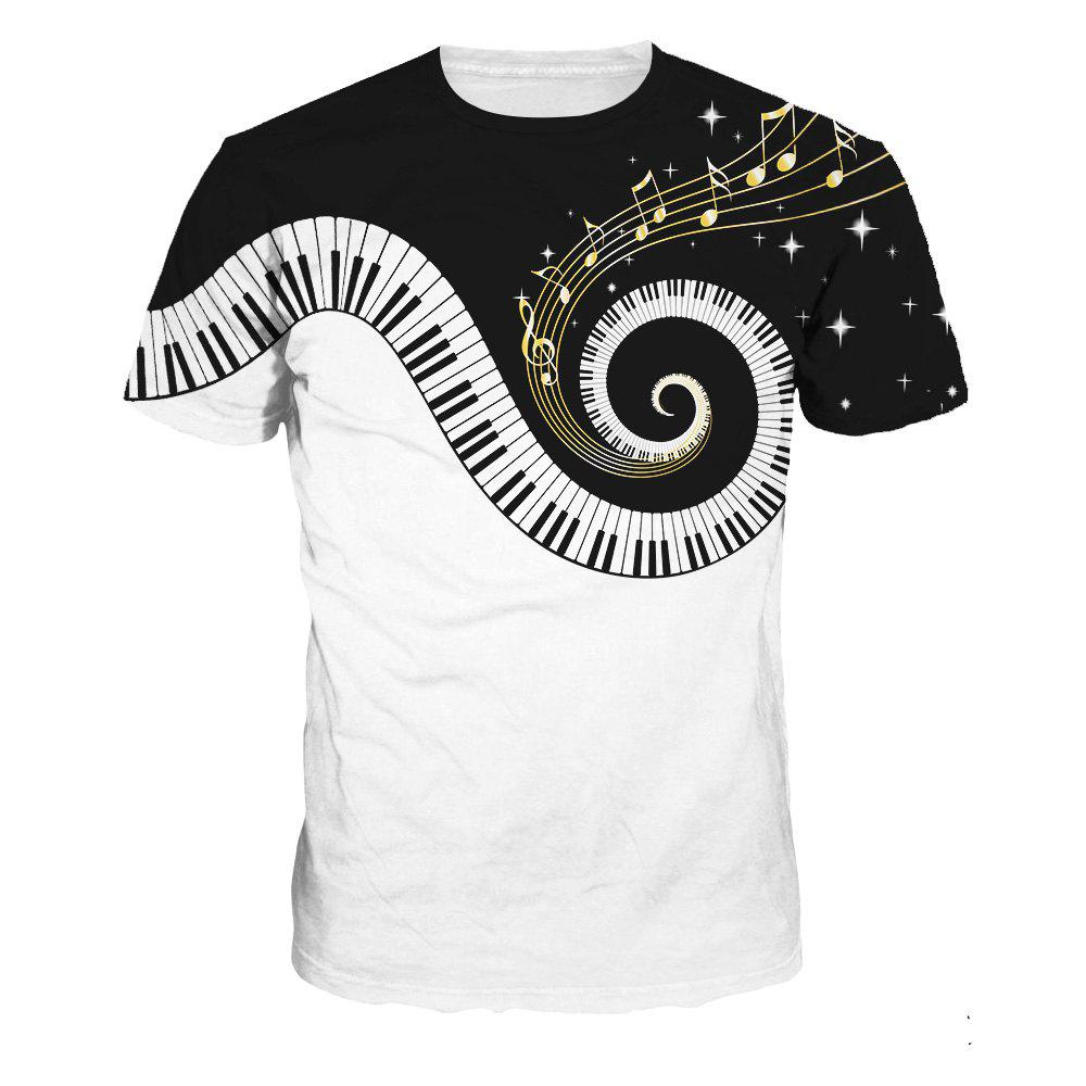Fashion Design Piano Pattern Digital Printing Short Sleeve T-shirt - multicolor A XL