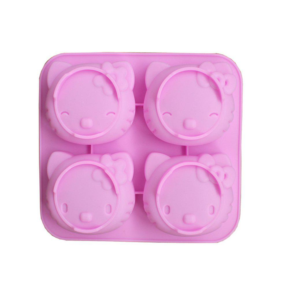 New 4 Expression Cake Cat Head Chocolate Silicone Mold - PINK