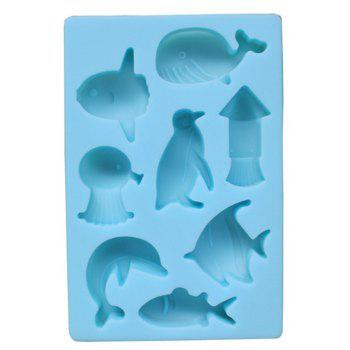 New 8 Dolphin Silicone Chocolate Creative Model - LIGHT BLUE