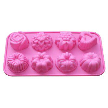 Hot 8 Even Flowers Silicone Chocolate Creative Cake Mold - PINK