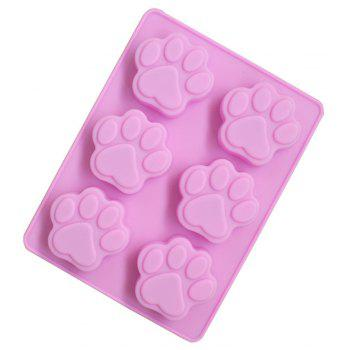 Creative Six Dog Footprints Silicone Cake Chocolate Cookie Mold - PINK