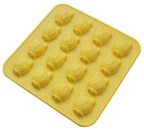 New 16 Cat Silicone Cake Chocolate Biscuit Mold - YELLOW