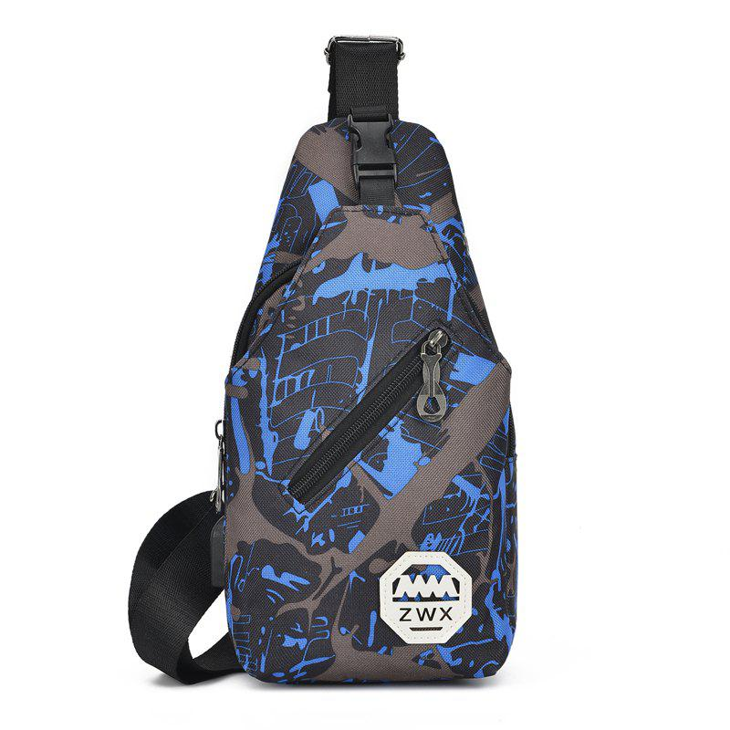 Waterproof Blue Camouflage Men Travel Chest Bag Ladies Shoulder Pack - DODGER BLUE