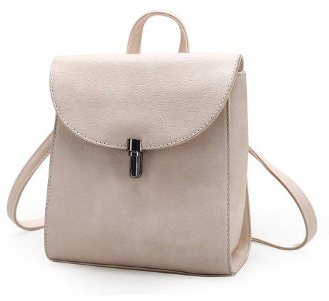 Women Small Backpack Ladies High Quality PU Leather School Bags for Teenager - WARM WHITE