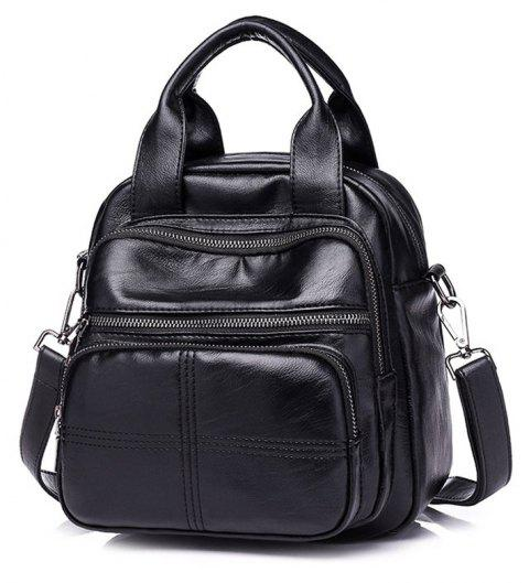 Large Vintage Classic Fashion Oil Wax Cowhide Real Leather Women'S Backpacks - BLACK