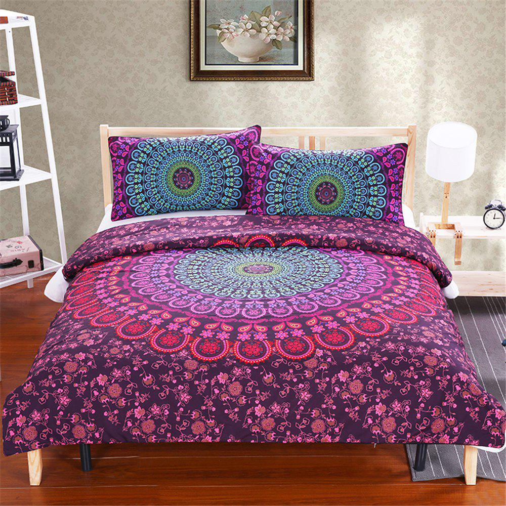 Bedding 3pcs Floral Duvet Cover Set  Digital Print - multicolor KING