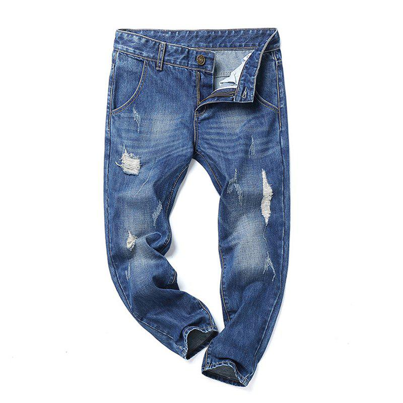 Zipper Fly Narrow Foot Rub Hip-Hop Jeans - BLUE 29