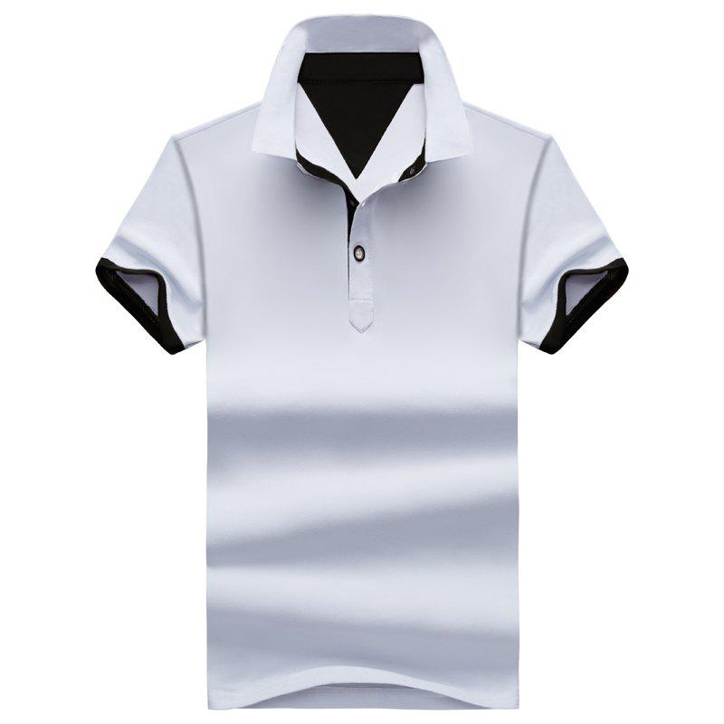 Summer Pure Color Casual Men's Short-Sleeved Polo Shirts - WHITE XL