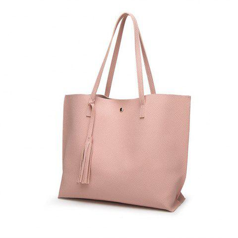 Handbags Woman PU Leather Large Capacity Female Shoulder Bags Solid Color Practi - PINK