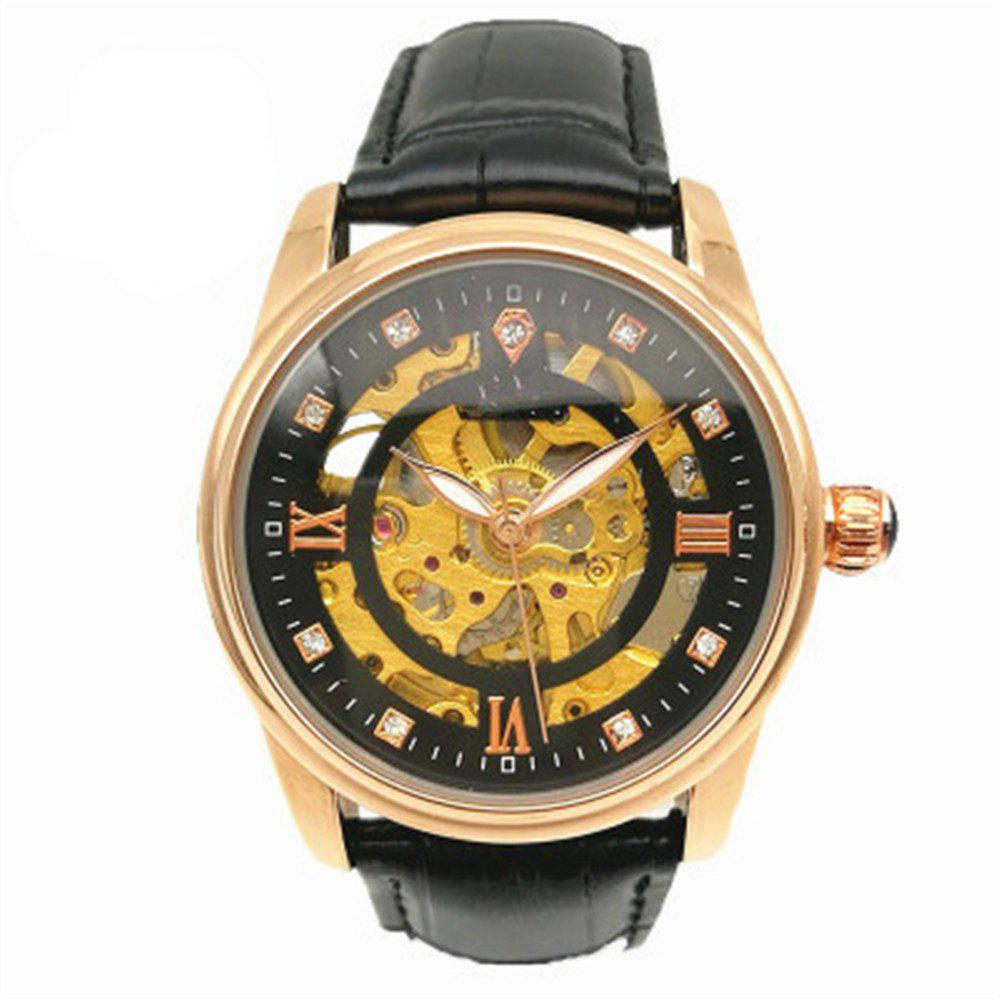 Luminous Automatic Mechanical Skeleton Dial Stainless Steel Band Wrist Watch - BLACK