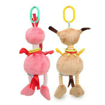 2pcs Baby Rattle Cute  Stroller Wind Chimes Hanging Bell  Toy Doll Soft - ROSE RED