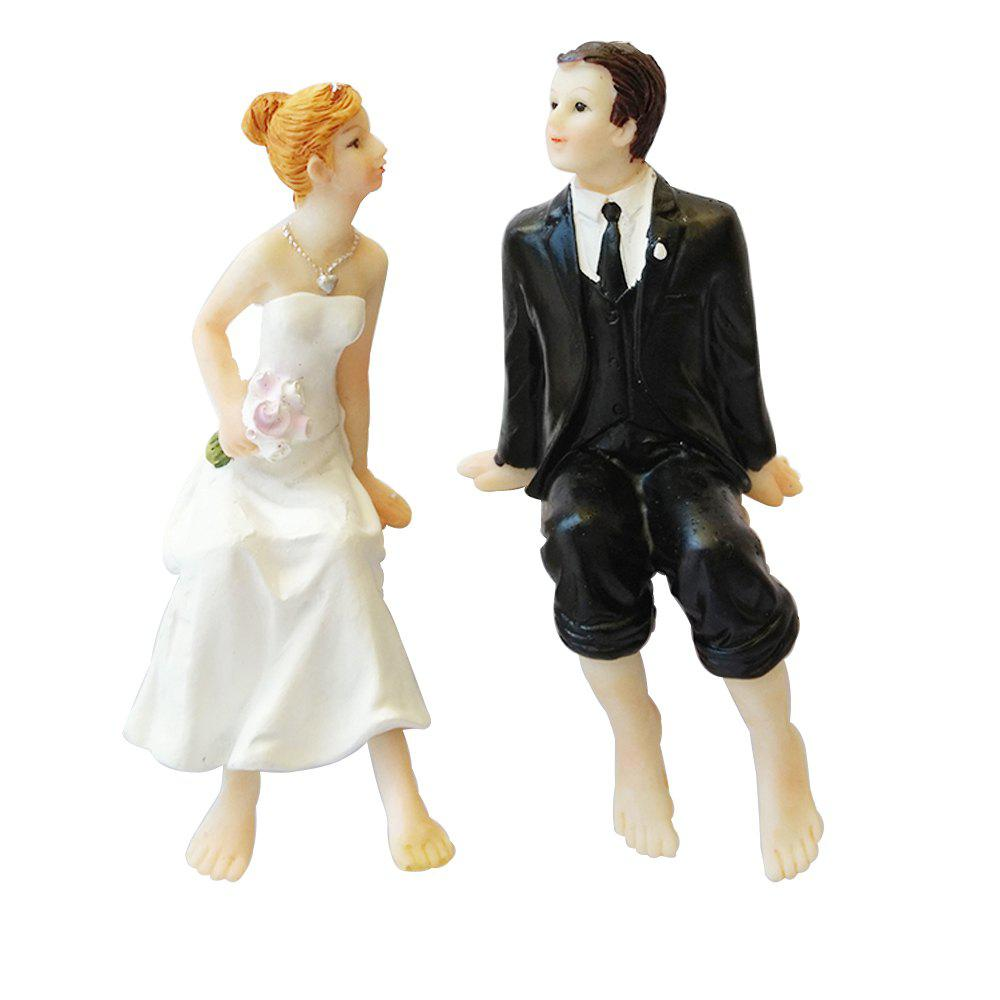 Sitting Barefoot Bride And Groom Doll Ornaments Decorated Cake Topper - multicolor