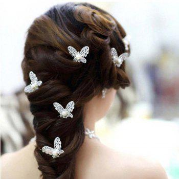 Hollow Out Butterfly Hair Pin - SILVER