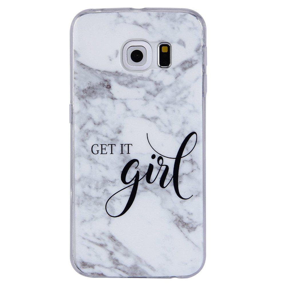 Grey White Mixed Color Characters Marble TPU Case for Samsung Galaxy S6 Edge - WHITE