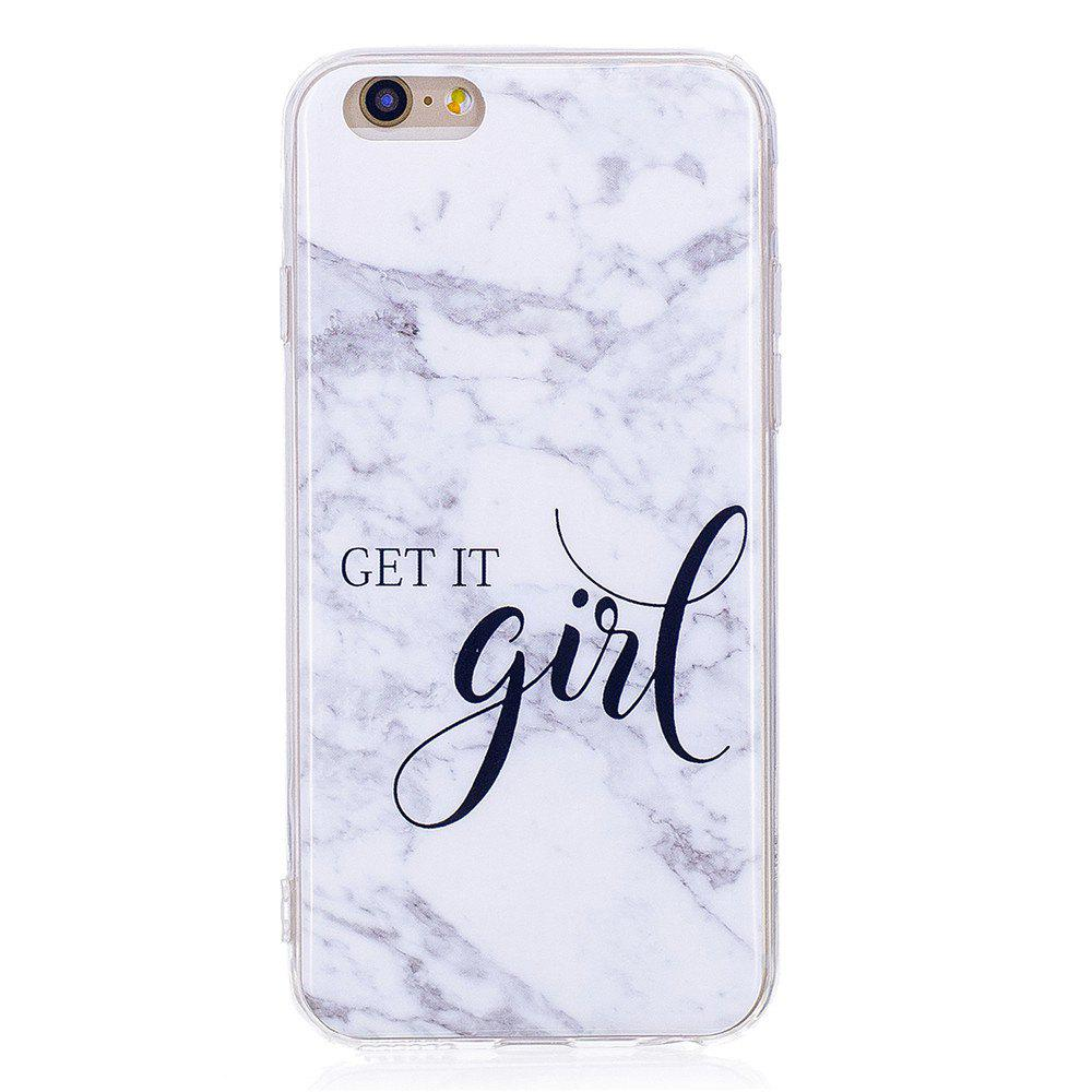 Grey White Mixed Color Characters Marble Soft TPU Case for iPhone 6 / 6S Plus - WHITE