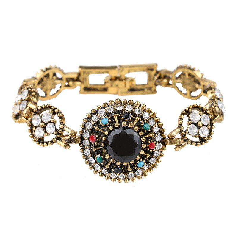 Fashion Exaggerated Diamond Ancient Gold Colorful Gemstone Bracelet Woman - multicolor A
