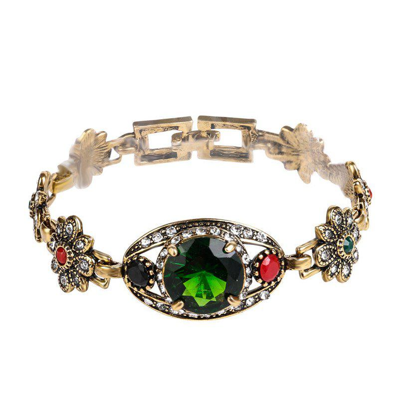 Fashion Exaggerated Diamond Green Crystal Bracelet Woman - multicolor A