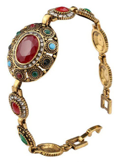 Fashion Exaggerated Diamond Red Black Colorful Gemstone Bracelet Woman - multicolor A