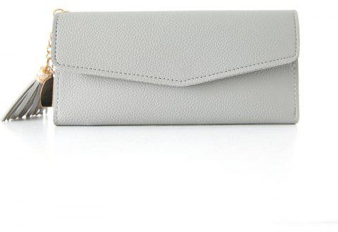 Long Heart Pendant Simple Litchi Pattern Wallet - GRAY GOOSE