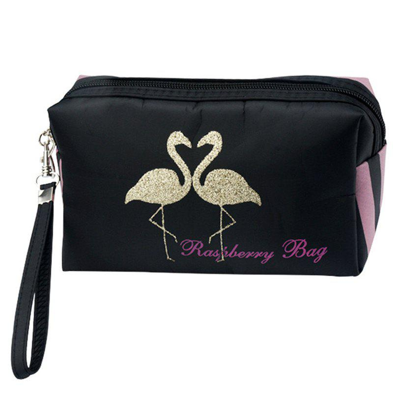 Flamingo Large Capacity Travel Cosmetic Bag - BLACK