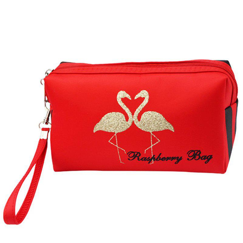Flamingo Large Capacity Travel Cosmetic Bag - RED