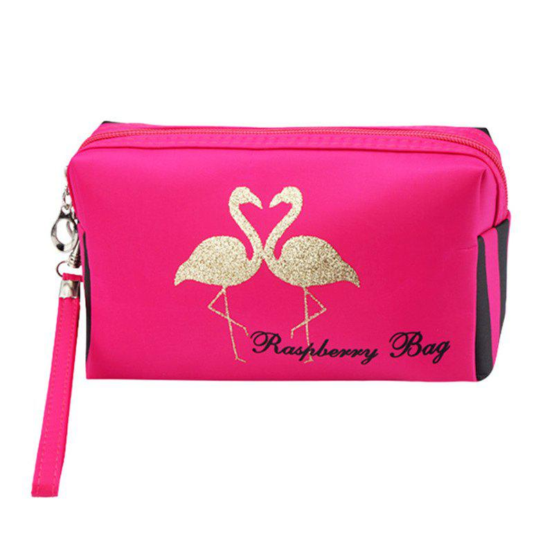 Flamingo Large Capacity Travel Cosmetic Bag - ROSE RED