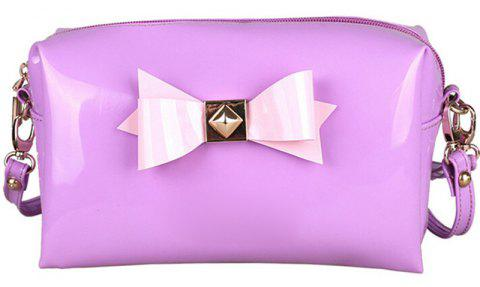 Bow Bright Patent Leather Jelly Makeup Storage Bag - MAUVE