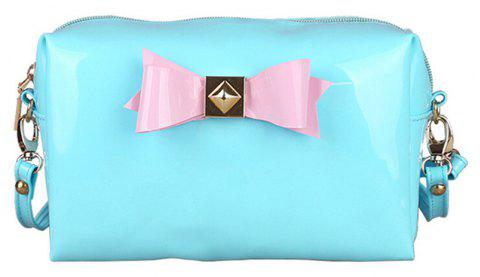 Bow Bright Patent Leather Jelly Makeup Storage Bag - BLUE LAGOON